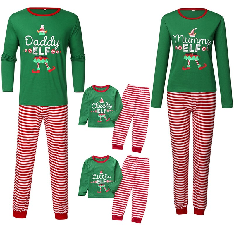 Christmas Family Matching Sleepwear Pajamas Sets Green Hat Slogan Top and Red Stripe Pants