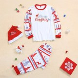 Christmas Family Matching Sleepwear Pajamas Sets White Dears Top and Deers Trees Pants