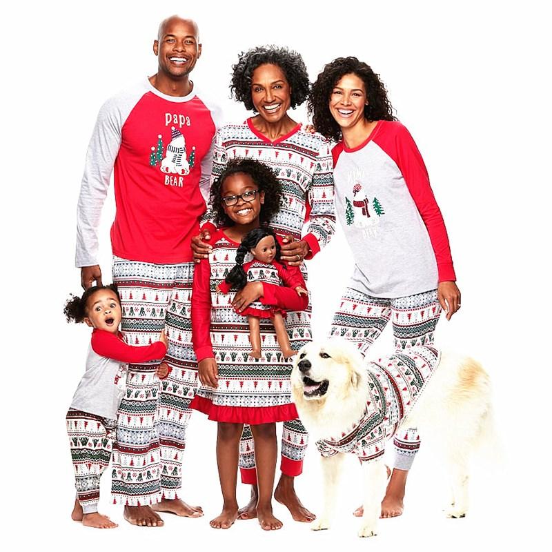 Christmas Family Matching Sleepwear Pajamas Sets White Snowman Trees Top and Pants