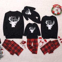 Christmas Family Matching Sleepwear Pajamas Sets Black Deers Top and Red Plaids Pants