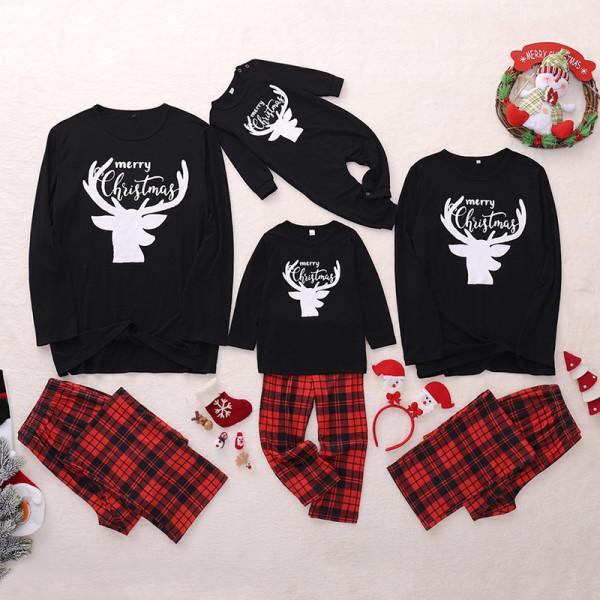 Christmas Family Matching Sleepwear Pajamas Sets Black Deers Top and Red Plaids Pants