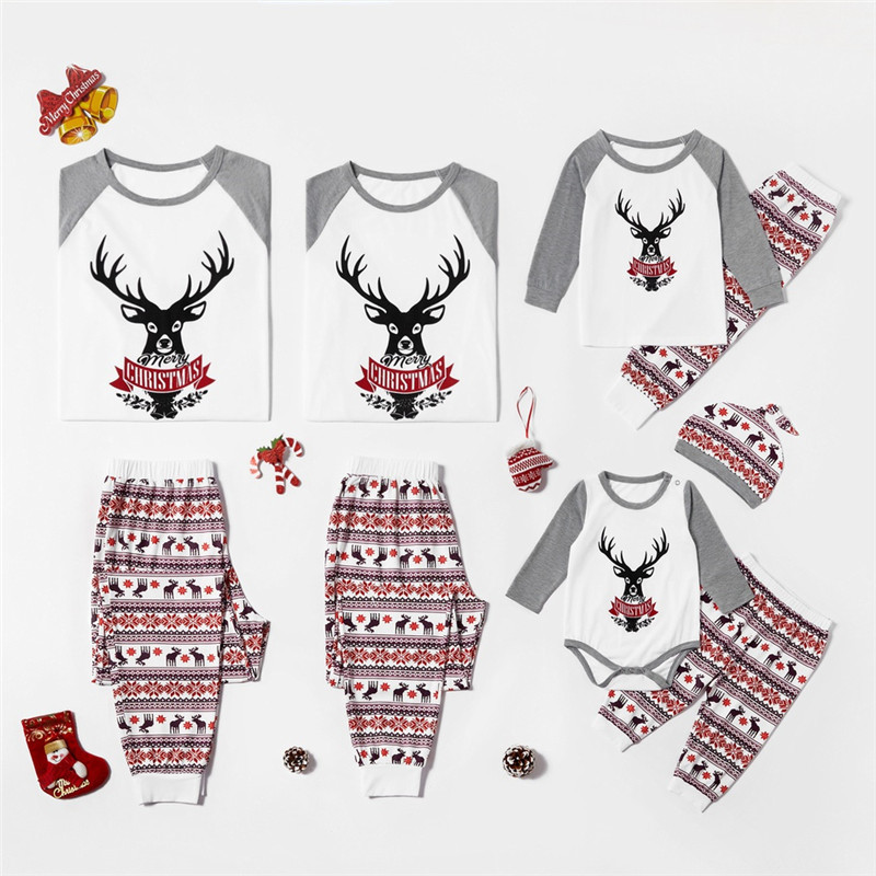 Christmas Family Matching Sleepwear Pajamas Sets Grey Deers Top and Stripe Pants