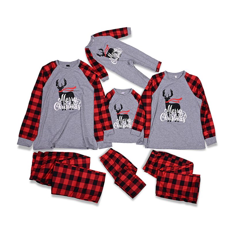 Christmas Family Matching Sleepwear Pajamas Sets Grey Deers Top and Red Plaids Pants