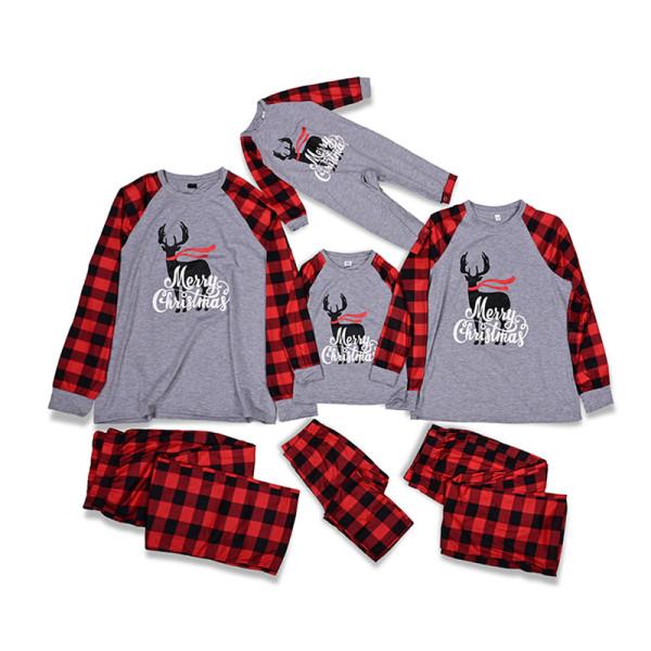 Christmas Family Matching Sleepwear Pajamas Sets Grey Deers Top and Red Plaids Pants