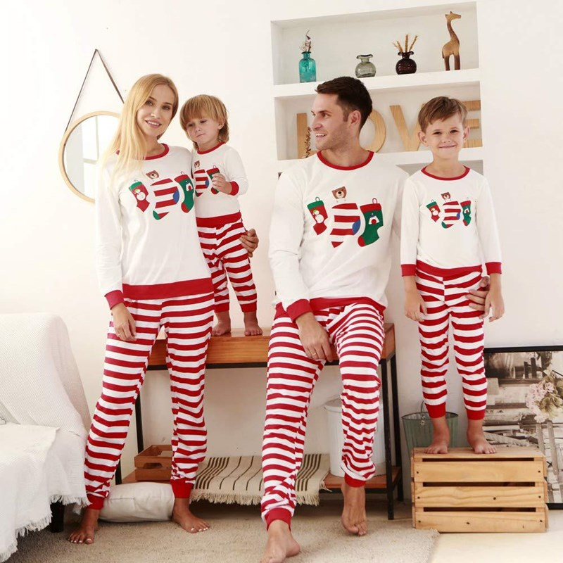Christmas Family Matching Sleepwear Pajamas Sets White Stocking Bear Top and Red Stripes Pants