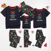 Christmas Family Matching Sleepwear Pajamas Sets Snowflake Star Bowknot Top and Deers Trees Pants