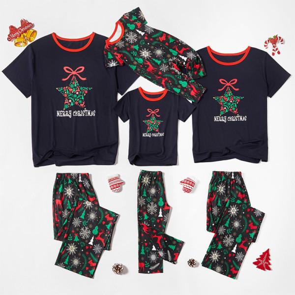 Christmas Family Matching Sleepwear Pajamas Sets Snowflake Star Bowknot Top and Deers Trees Pants