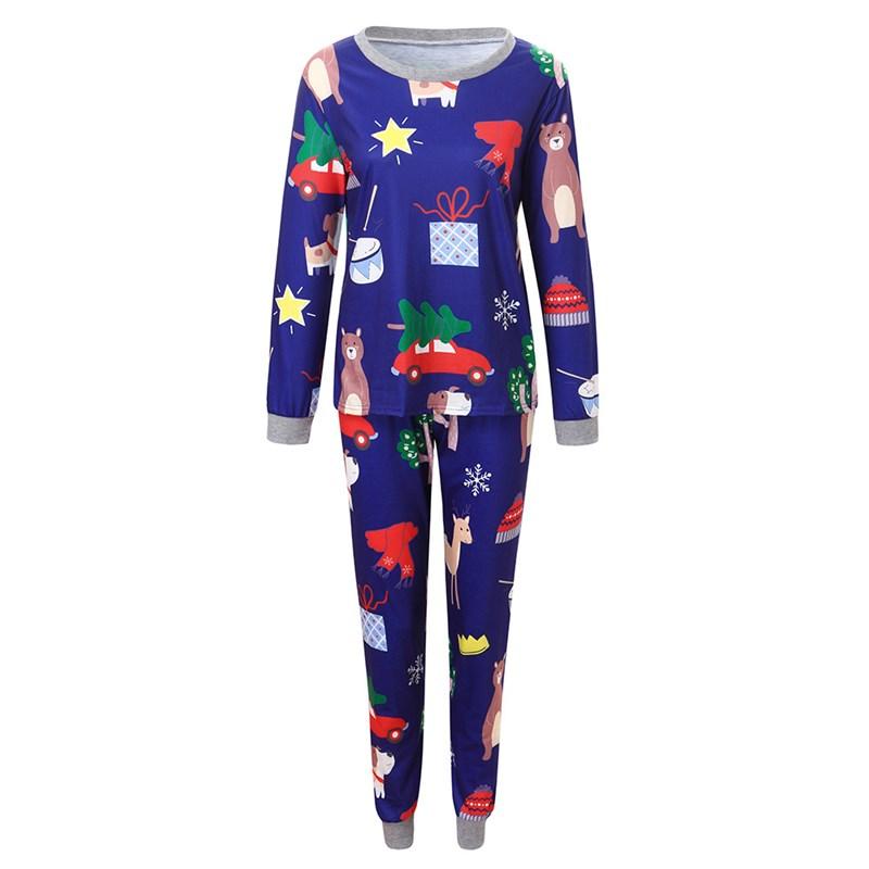 Christmas Family Matching Sleepwear Pajamas Sets Blue Prints Hat Trees Bear Top and Pants