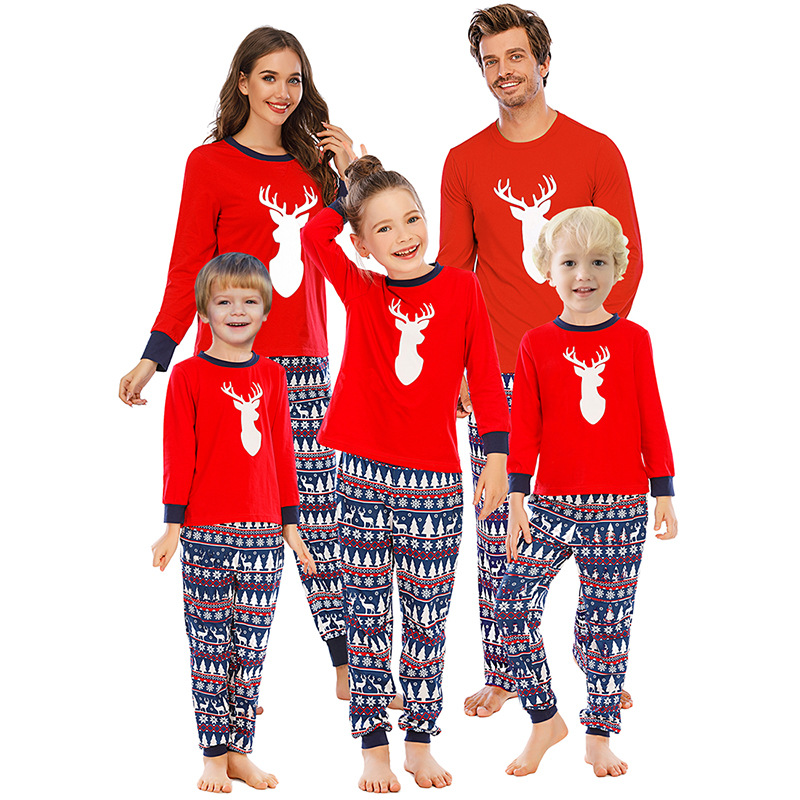 Christmas Family Matching Sleepwear Pajamas Sets Red Deer Top and Navy Prints Pants