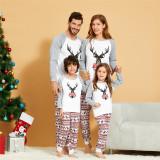 Christmas Family Matching Sleepwear Pajamas Sets Grey Deers Top and Stripe Pants