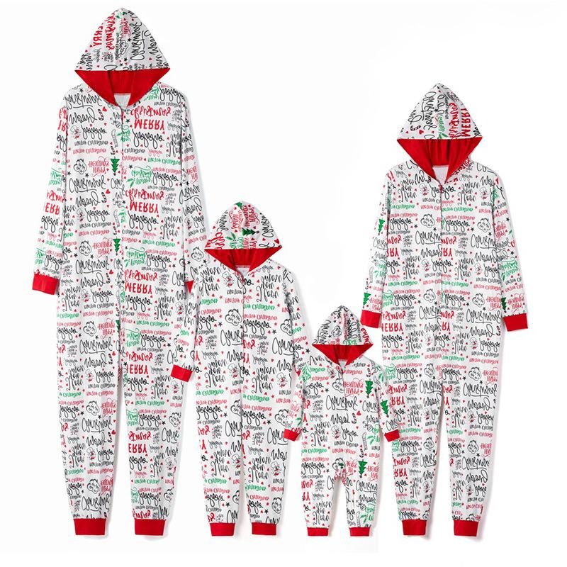 Christmas Family Matching Sleepwear Onesie Pajamas Santa Claus Slogans Letters Hooded Jumpsuit