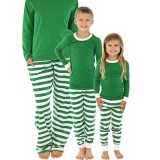 Christmas Family Matching Sleepwear Pajamas Sets Green Top and Green Stripes Pants