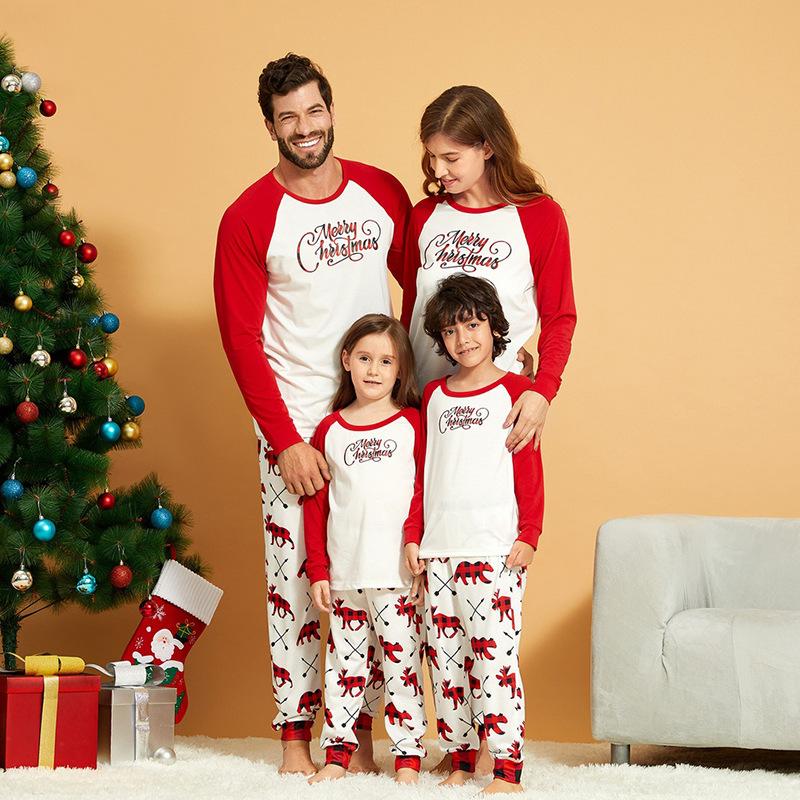 Christmas Family Matching Sleepwear Pajamas Sets White Merry Christmas Top and Prints Deer Pants