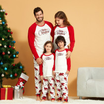 Christmas Family Matching Sleepwear Pajamas Sets White Merry Christmas Top and Prints Bear Deer Pants