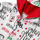 Christmas Family Matching Sleepwear Onesie Kigurumi Pajamas Santa Claus Slogan Hooded Jumpsuit