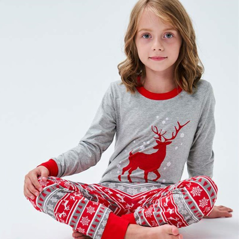 Christmas Family Matching Sleepwear Pajamas Sets Red Deers Grey Top and Red Stripe Snow Pants