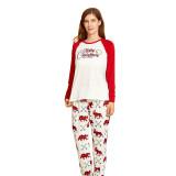 Christmas Family Matching Sleepwear Pajamas Sets White Merry Christmas Top and Prints Bear Deer Pants