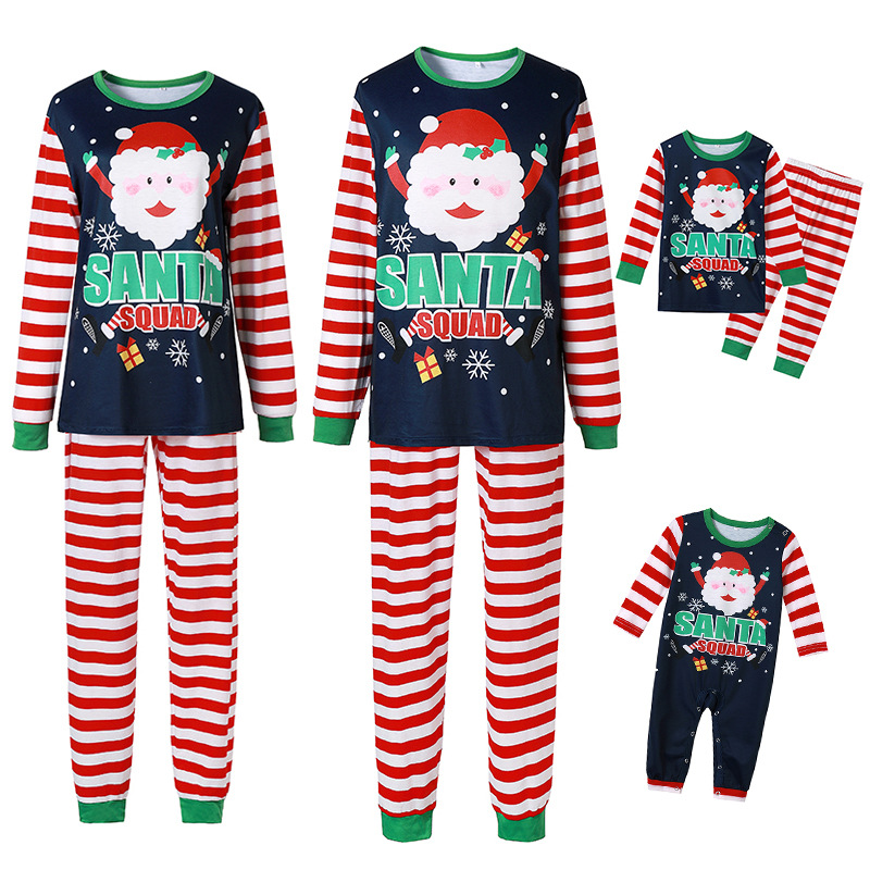 Christmas Family Matching Sleepwear Pajamas Sets Dark Blue Santa Claus Snow Top and Stripe Pants