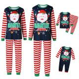 Christmas Family Matching Sleepwear Pajamas Sets Dark Blue Santa Claus Snow Top and Stripe Pants