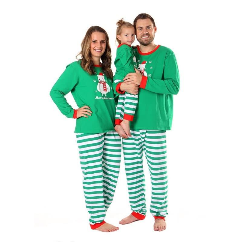 Christmas Family Matching Sleepwear Pajamas Sets Green Bear Top and Stripe Pants