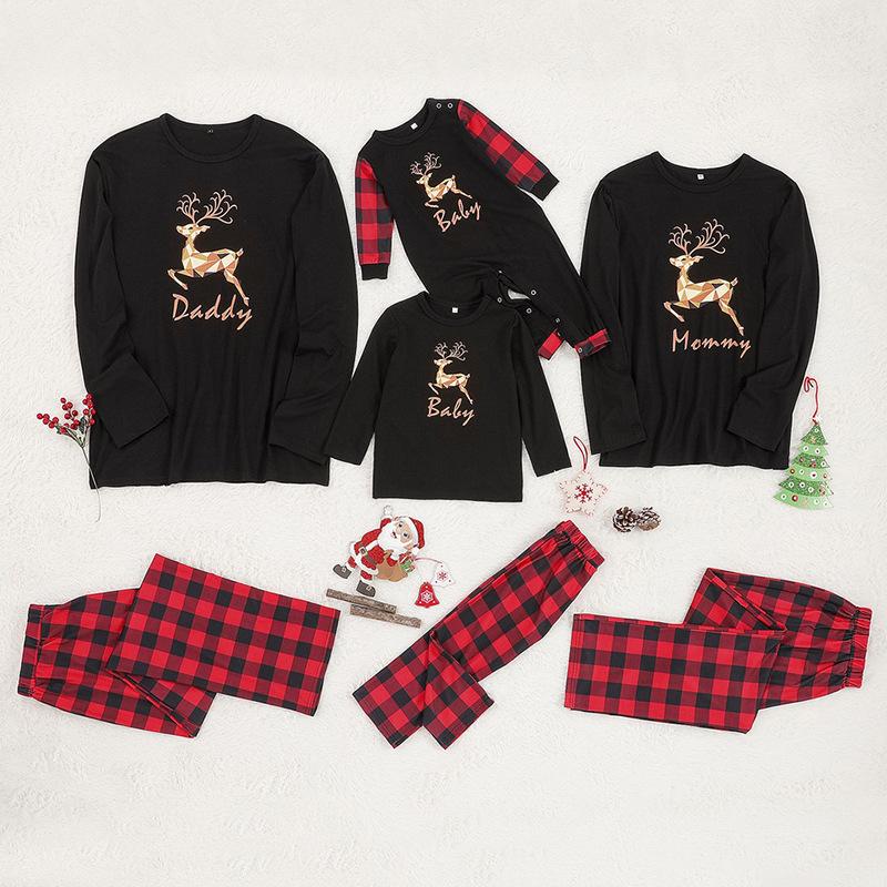 Christmas Family Matching Sleepwear Pajamas Sets Black Deers Top and Red Plaid Pants