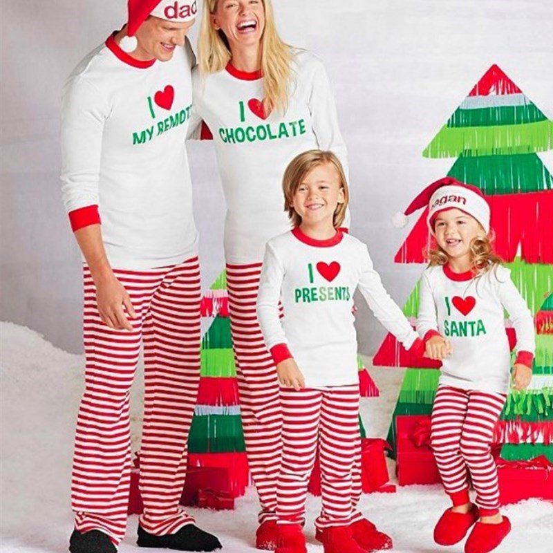 Christmas Family Matching Sleepwear Pajamas Sets Christmas Slogan Heart Love Top and Stripe Pants