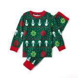 Christmas Family Matching Sleepwear Pajamas Sets Green Snowflake Snowman Top and Pants