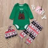 Christmas Family Matching Sleepwear Pajamas Sets Santa Deer Top and  Christmas Trees Stripes Pants