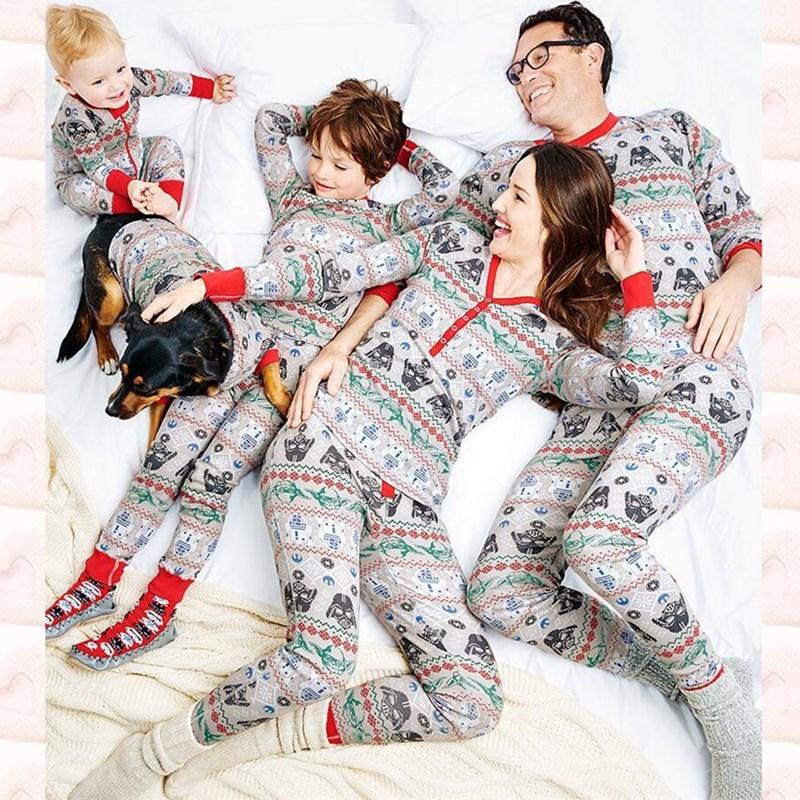 Christmas Family Matching Sleepwear Pajamas Sets Christmas Geometric Pattern Tops and Pants