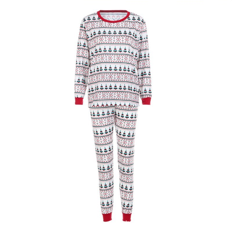 Christmas Family Matching Sleepwear Pajamas Sets Christmas Red Green Stripes Trees Top and Pants