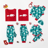 Christmas Family Matching Sleepwear Pajamas Sets Green Cartoon Trees Top and Pants