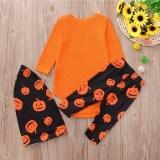 Halloween Christmas Family Matching Sleepwear Pajamas Sets Orange Pumpkins Top and Pants