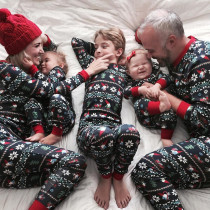 Christmas Family Matching Sleepwear Pajamas Sets Dark Blue Santa Claus Trees Snow Top and Pants