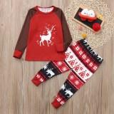 Christmas Family Matching Sleepwear Pajamas Sets Red Deer Top and Christmas Trees Pants
