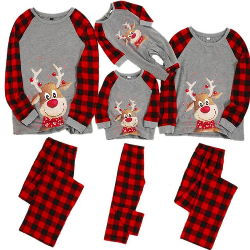 Christmas Family Matching Sleepwear Pajamas Sets Cute Deers Plaid Top and Red Plaids Pants With Dog Cloth