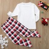 Christmas Family Matching Sleepwear Pajamas Sets Deers Plaid Snow Top and Red Pants
