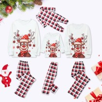 Christmas Family Matching Sleepwear Pajamas Sets Deers Plaid Snow Top and Red Pants