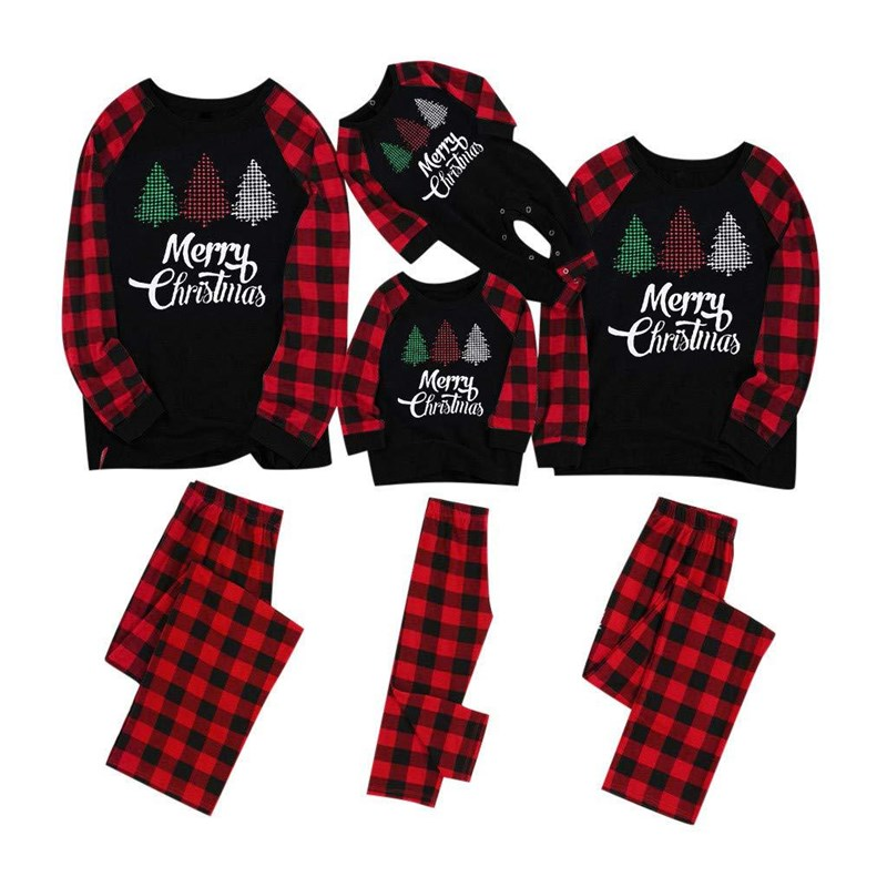 Christmas Family Matching Sleepwear Pajamas Sets Black Trees Top and Red Plaid Pants