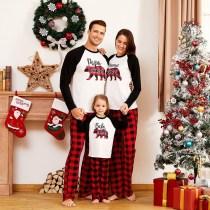 Christmas Family Matching Sleepwear Pajamas Sets White Papa Mama Bear Top and Red Plaid Pants With Dog Cloth