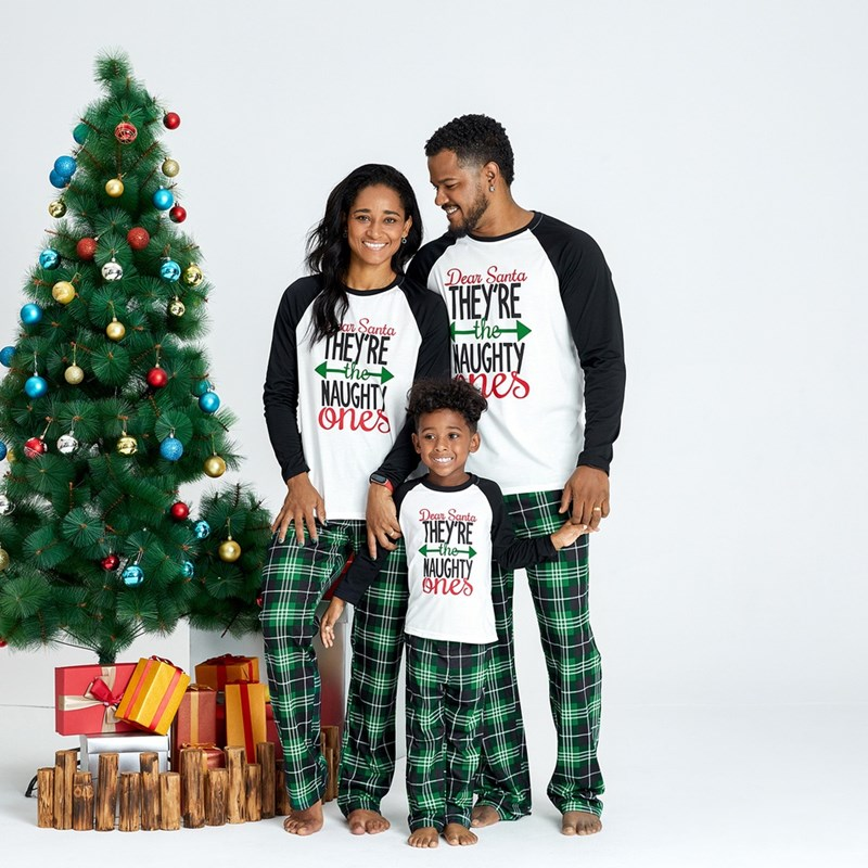 Christmas Family Matching Sleepwear Pajamas Sets White Printing Letter Top and Green Plaid Pants