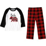 Christmas Family Matching Sleepwear Pajamas Sets White Printing Top and Red Plaid Pants
