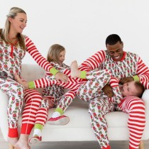 Christmas Family Matching Sleepwear Pajamas Sets White Printing Stripes Top and Pants