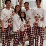 Christmas Family Matching Sleepwear Pajamas Sets White Christmas Deer Top and Red Plaids Pants