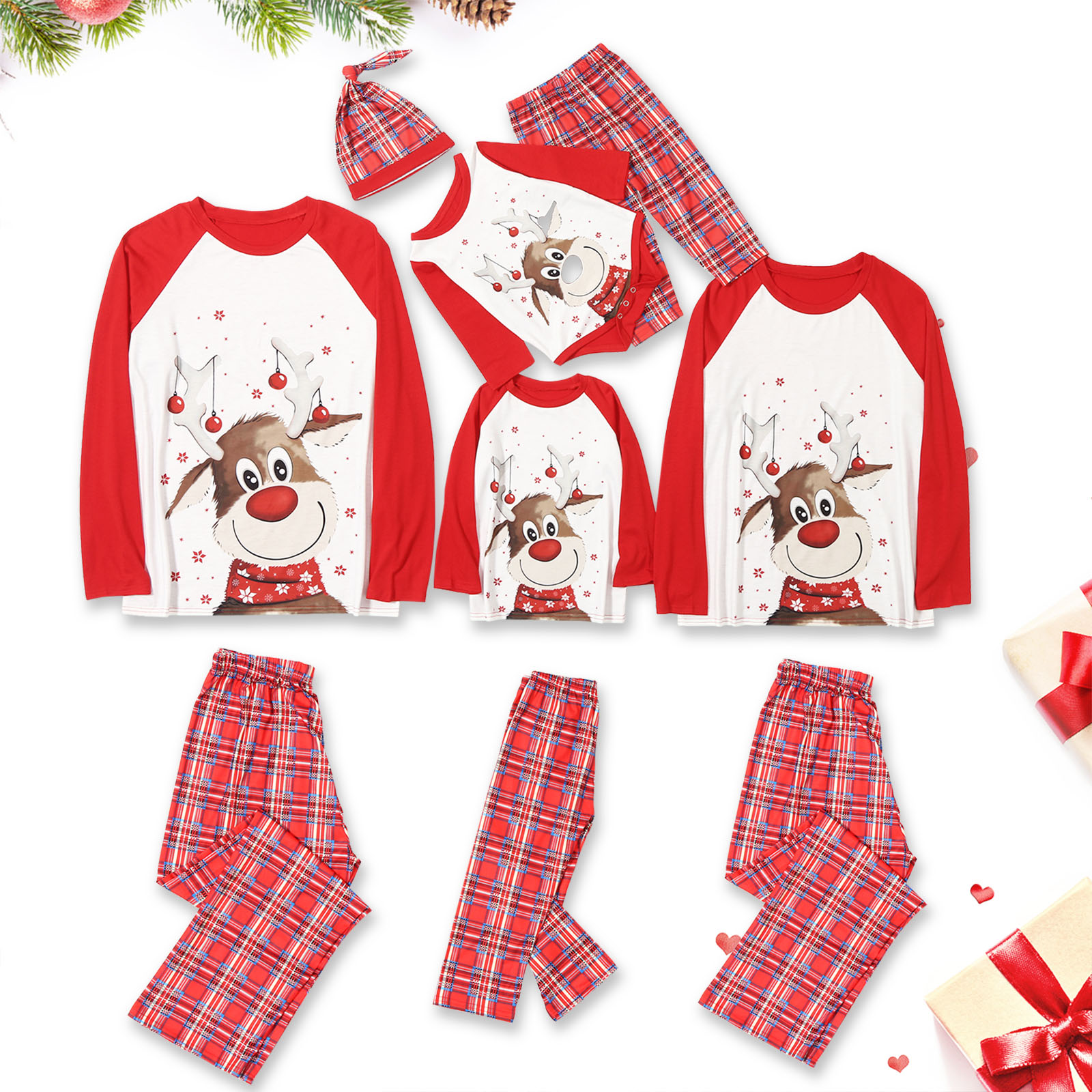 Christmas Family Matching Pajamas Christmas Red Deers Top and Plaid Pant