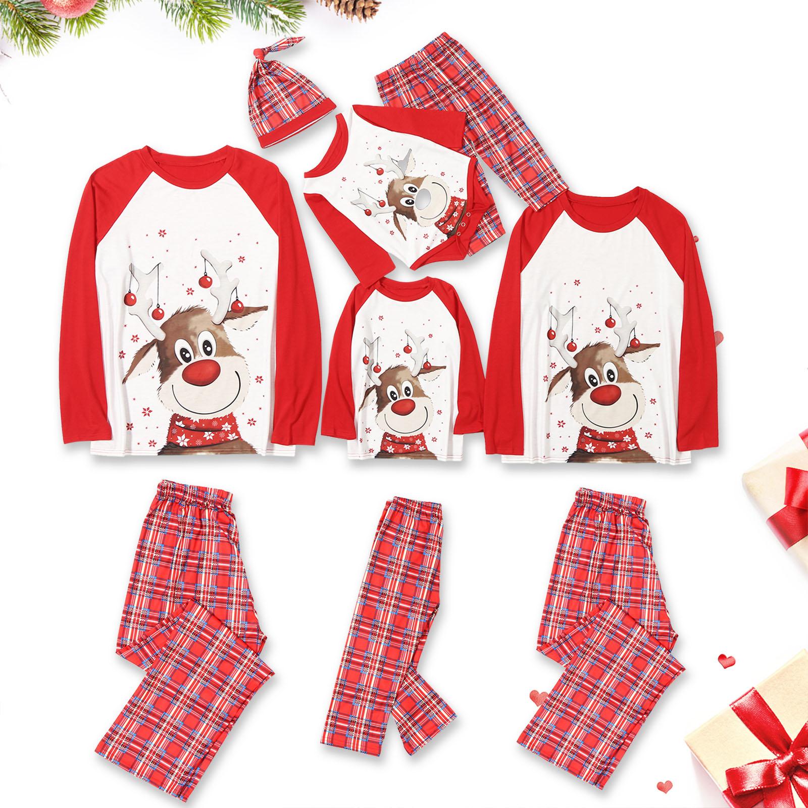 Christmas Family Matching Pajamas Christmas Red Deers Top and Plaid Pant With Dog Cloth