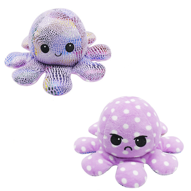 The Original Reversible Octopus Sequins Wave Point Plushie Soft Stuffed Plush Animal Doll for Kids Gift