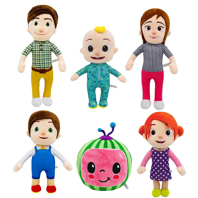 CoCoMelon JJ Plush Doll Watermelon Educational Doll for Children Cartoon Stuffed Animal Doll for Kids Gift