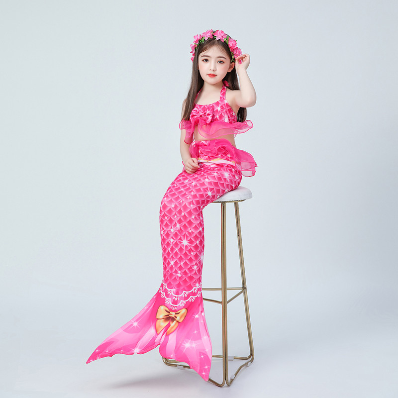 3PCS Kid Girls Rose Pink Lace Mermaid Tail Bikini Sets Swimsuit