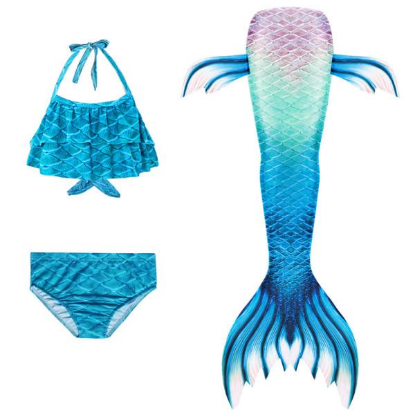 3PCS Kid Girls Ombre Dyeing Scale Mermaid Tail Bikini Sets Ruffles Top Swimwear