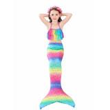 3PCS Kid Girls Rainbow Dot Mermaid Tail Bikini Sets Ruffles Swimwear